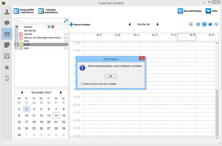 Kalender vom iPhone in iCloud kopieren