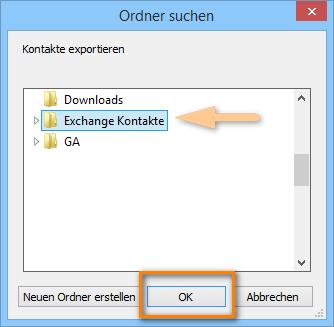 Zielordner für Exchange Kontakte am PC auswählen