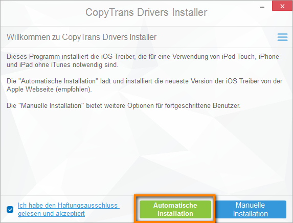 CopyTrans Drivers Installer automatische Installation