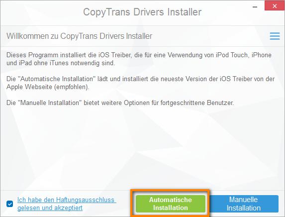 CopyTrans Drivers Installer automatische Installation