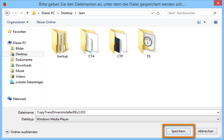 CopyTrans Drivers Installer am PC sichern