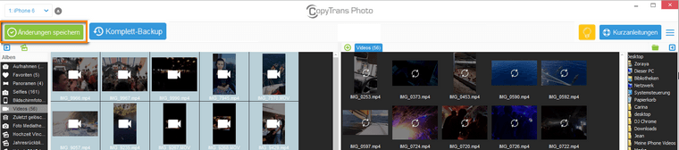 iPhone Videos mit CopyTrans Photo verwalten