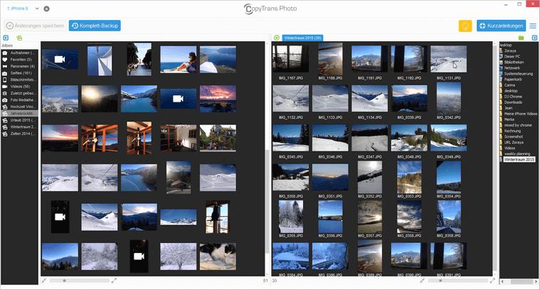 Videos angezeigt im Programm CopyTrans Photo