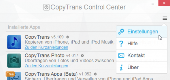 CopyTrans Control Center Einstellungen