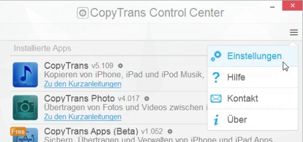 CopyTrans Control Center Einstellungen