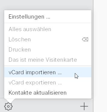 vCard in iCloud importieren
