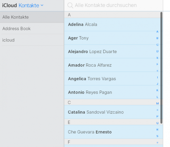 Kontakte in iCloud importiert