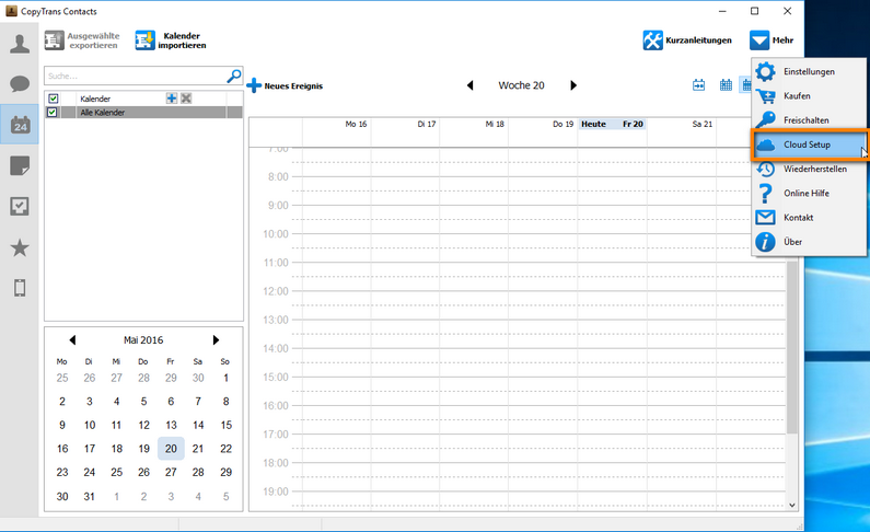 Cloud Setup Kalender