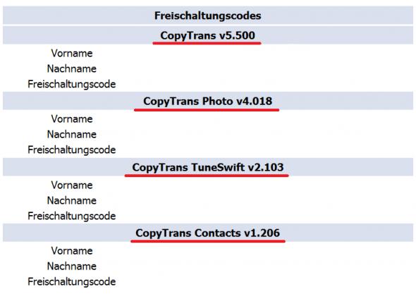 Freischaltcodes für verschiedene Programme