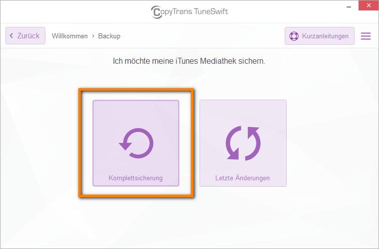 iTunes Komplettsicherung