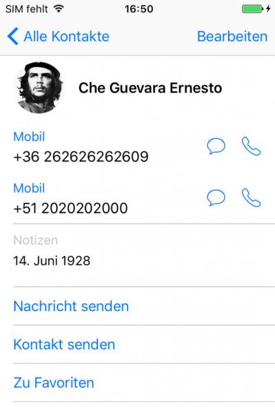 iPhone Kontakt mit Foto
