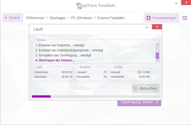 iTunes Mediathek übertragen