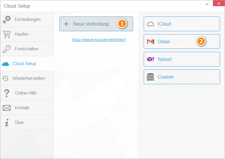 Cloud Setup für Google-Konto