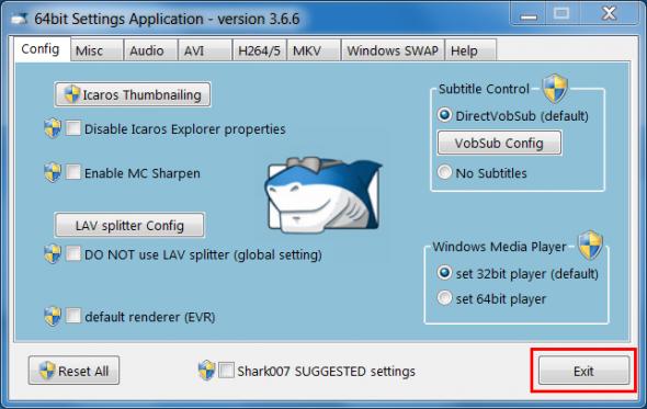 shark007 codecs anwendungseinstellungen unverändert behalten