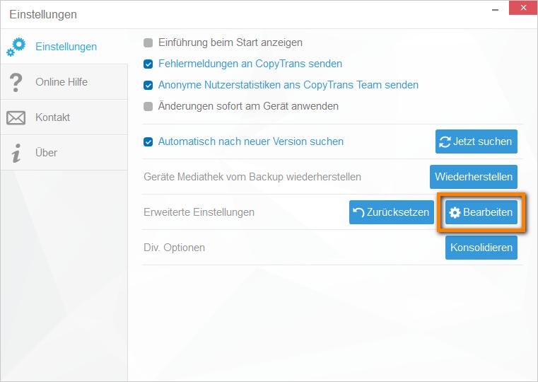 Erweiterte Einstellungen in CopyTrans Manager