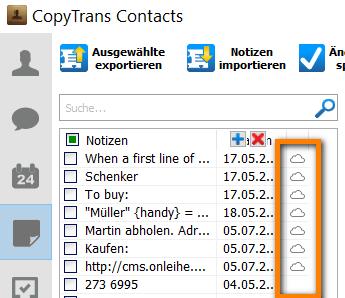 iCloud Notizen CopyTrans Contacts