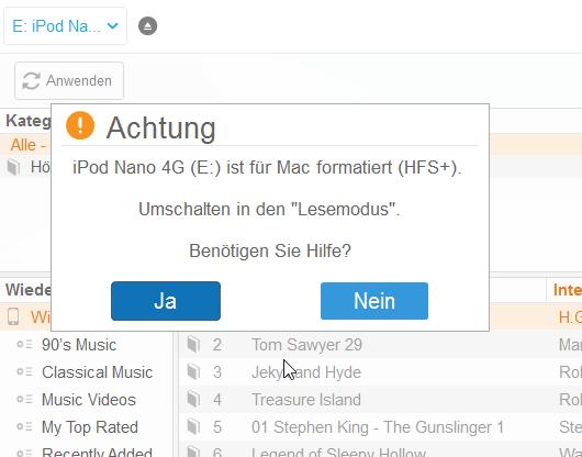 Für Mac formatierter iPod im Lesemodus