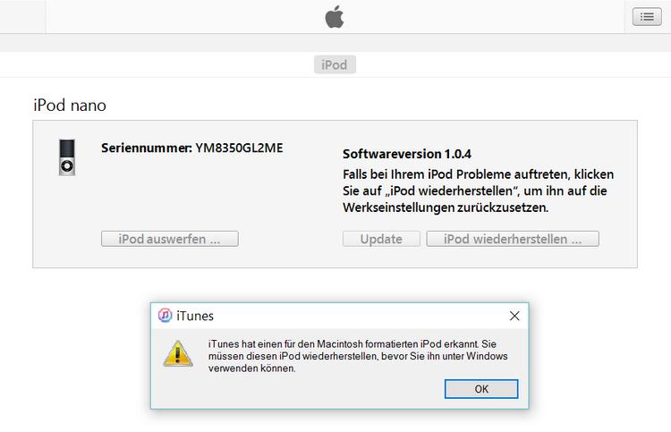 Für Mac formatierter iPod in iTunes wiederherstellen
