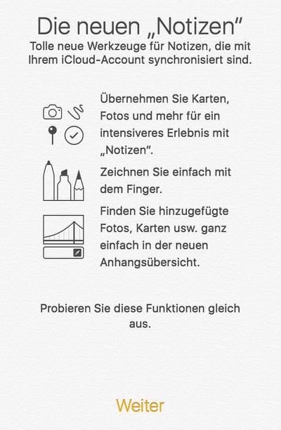 Cloud-Notizen unter iOS 9
