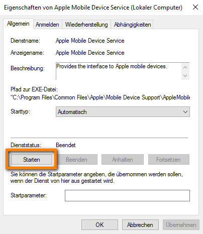 Apple Mobile Device Service starten