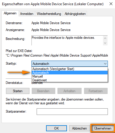 Apple Mobile Device Service automatisch starten