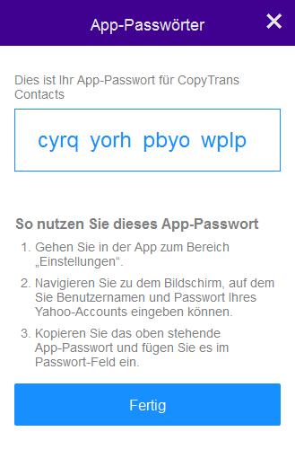 App-Passwort kopieren