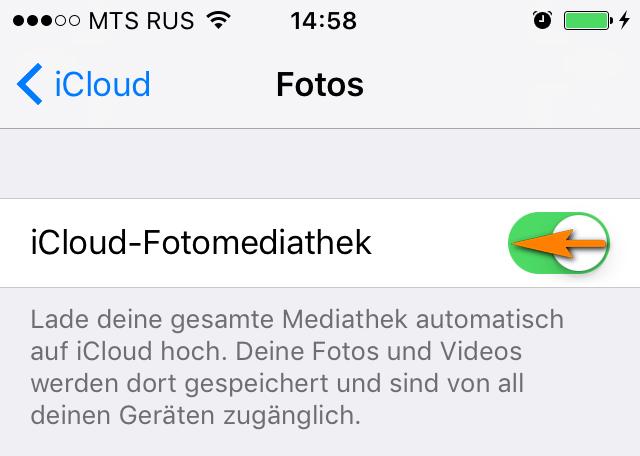 iCloud-Fotomediathek deaktivieren