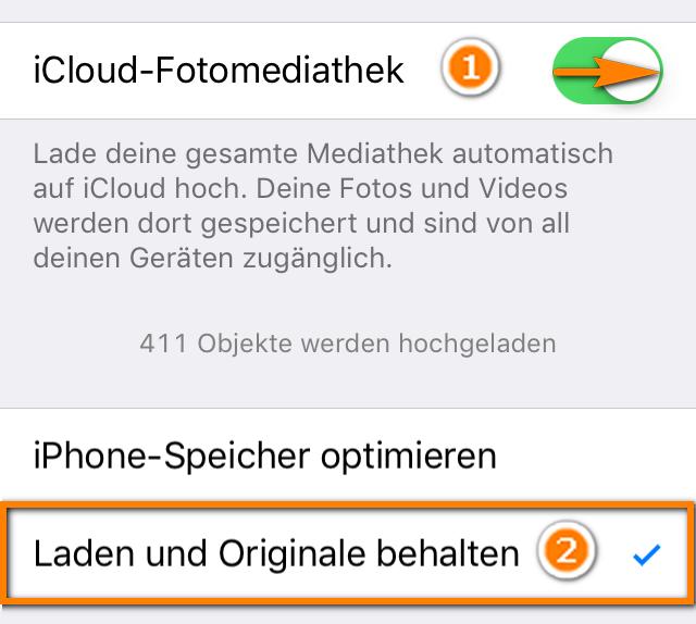 iCloud Fotos auf iPhone herunterladen