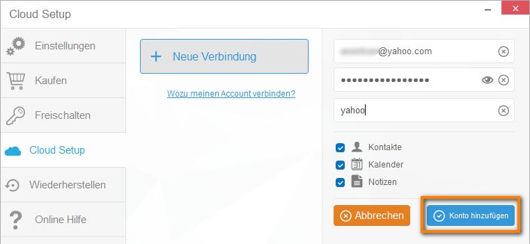 Yahoo-Konto hinzufügen