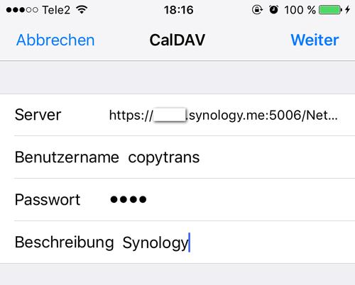 CalDAV-Einstellungen auf iPhone