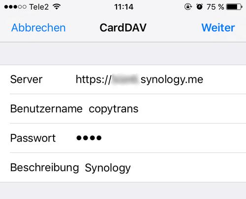 CardDAV-Einstellungen auf dem iPhone