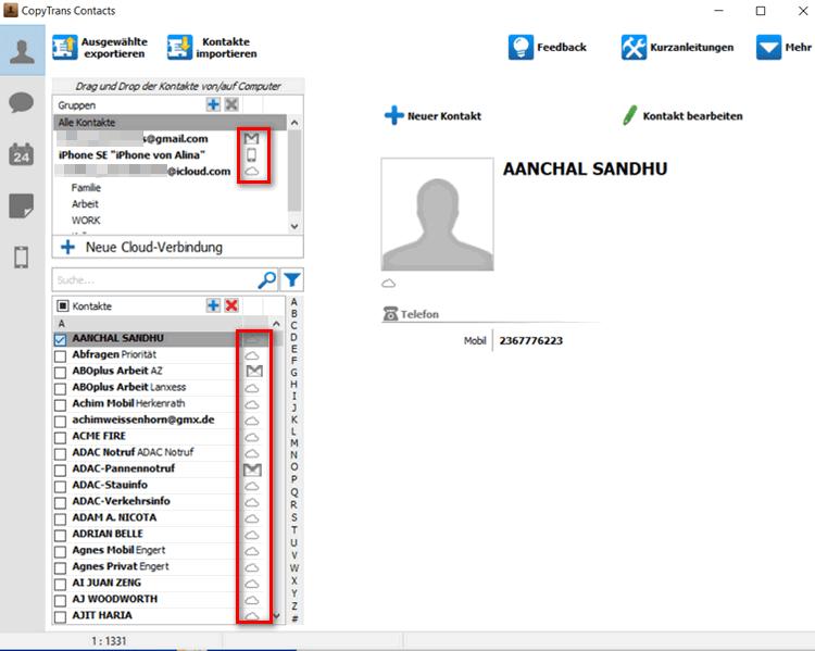 iCloud Kontakte und Gmail Kontakte verwalten