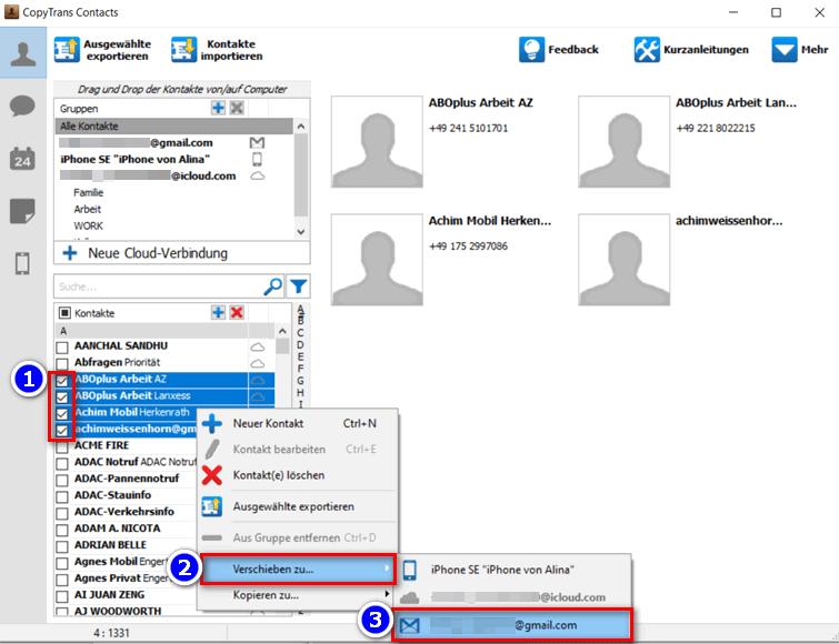 iCloud Kontakte zwischen verschiedenen Accounts übertragen