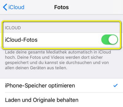 iCloud Fotomediathek ist an
