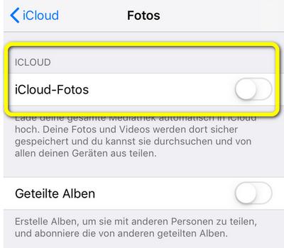 iCloud Fotomediathek ist aus