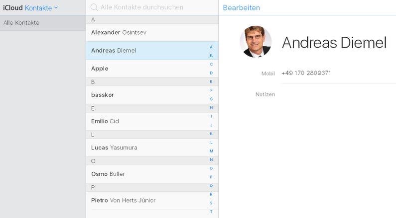 iCloud-Kontakte