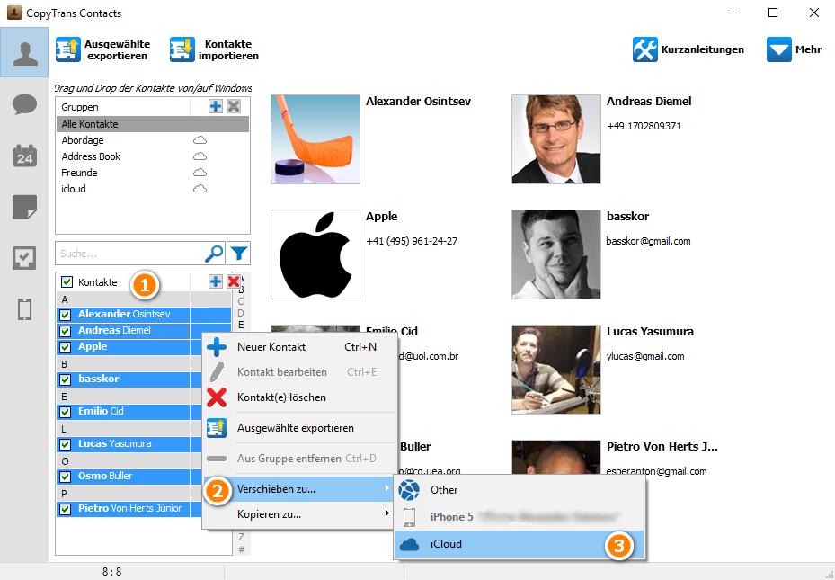 Kontakte in iCloud kopieren
