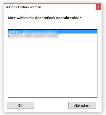 Outlook Kontaktordner wählen