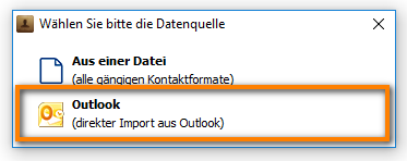 direkter Import aus Outlook