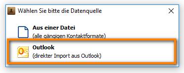 direkter Import aus Outlook