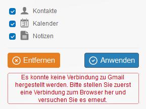 Verbindung mit dem Cloud-Konto kann nicht hergestellt werden