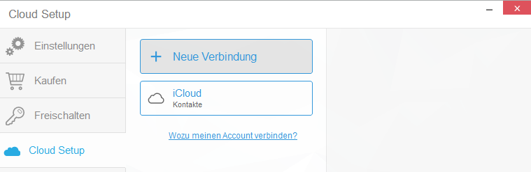 iCloud-Verbindung ist hergestellt