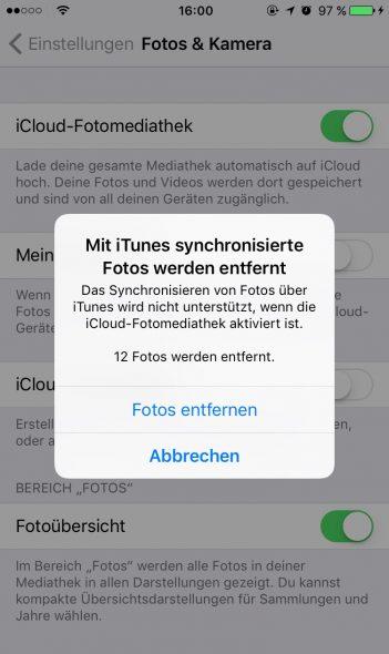 mit iTunes synchronisierte Fotos werden entfernt