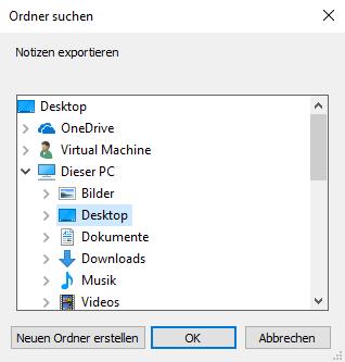 Zielordner auf dem PC wählen