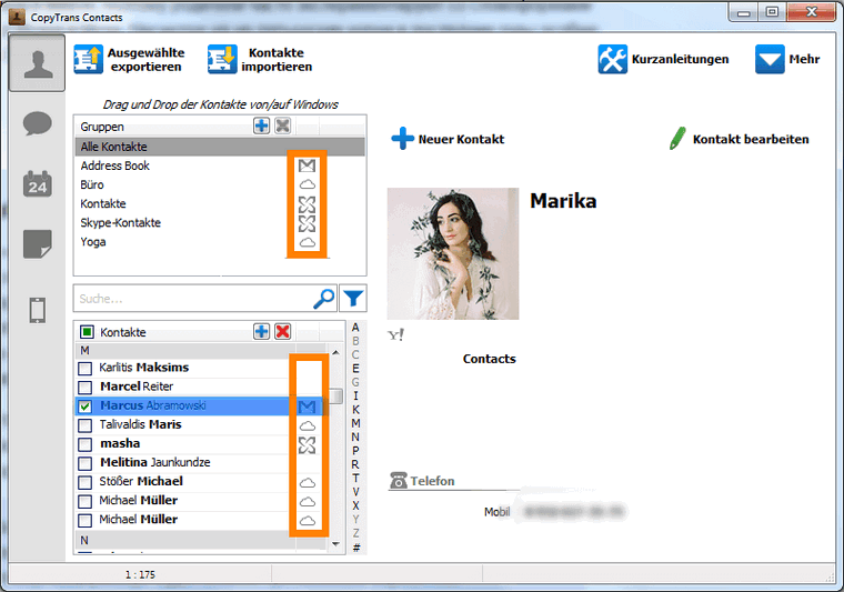 Cloud-Dienste verwalten mit CopyTrans Contacts