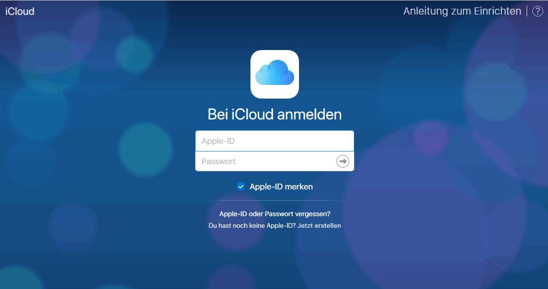 Bei iCloud.com anmelden