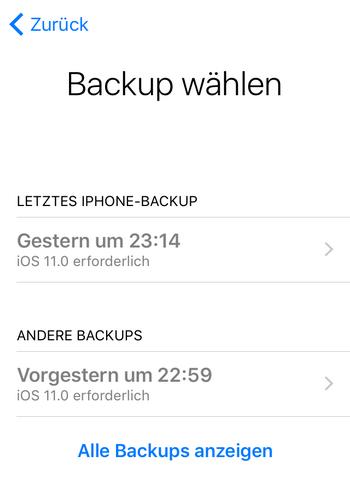 iCloud Backup am iPhone wiederherstellen