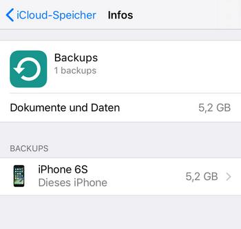Prüfen, ob ein iCloud Backup vorhanden ist