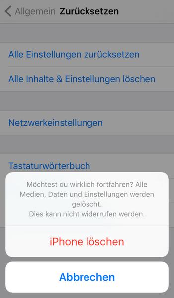 iphone zurücksetzen um es  vom iCloud wiederherstellen