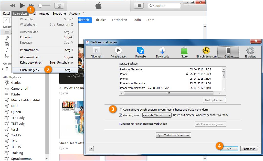 iTunes Backup auswählen und wiederherstellen